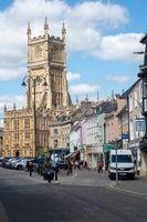 Looking down High Street to Cirencester Church