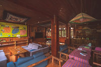Wooden backpacker hostel interior in China