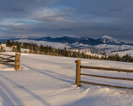 Morning countryside hills, groves and farmlands in winter remote alpine mountain village