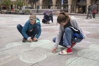 Greenpeace Action Munich painting with chalk