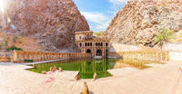 Galta Ji or Monkey Temple, sunny panorama, Jaipur, India