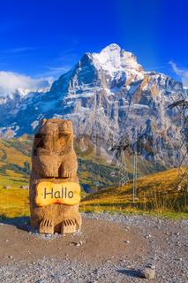 Grindelwald, Switzerland marmot statue, mountains