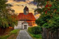 Rundkirche Siptenfelde Stadt Harzgerode im Sonnenaufgang