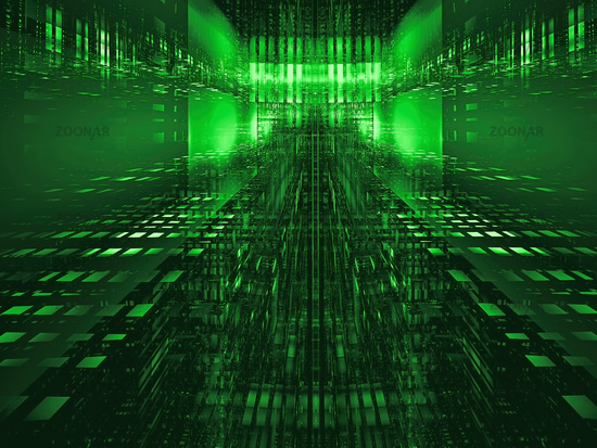 Green tech background - entrance to the matrix 3d illustration