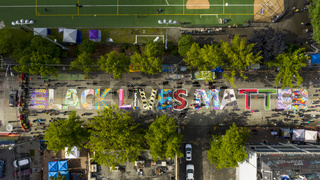 Seattle, WA/USA  June 13: Street View Protesters and Art Work for George Floyd and the BLM in Seattle on Capital Hill June 13, 2020