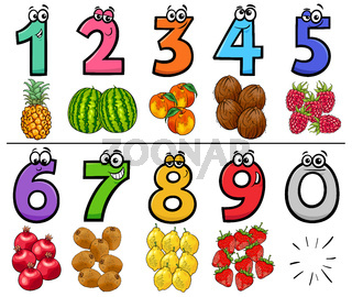 educational cartoon numbers set with fruits