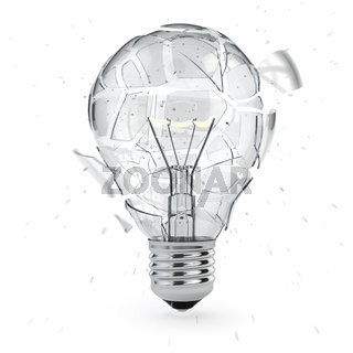 Light bulb exploding. Concept of idea.