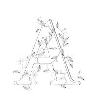 Letter A floral sketch