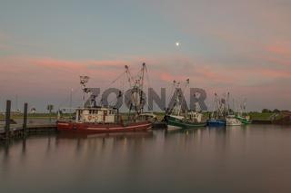 Fischkutter im Hafen von Dornumersiel, Abendstimmung, Ostfriesland, Niedersachsen, Deutschland