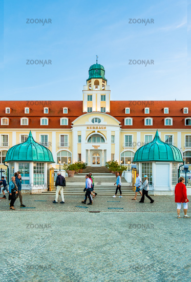 The famous spa hotel at the pier of Binz, summer 2020, Rügen, Germany