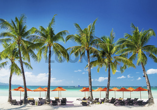 white beach lounge bar on boracay tropical island in philippines