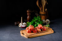 raw shish kebab with various vegetables