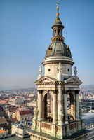 Bell tower of St. Stephen's Basilica in Budapest. Aerial view.