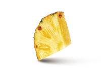 Cut slice of natural ripe fresh pineappe fruit isolated on a white background.