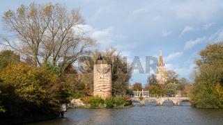 Minnewaterpark in Bruges, Flanders, Belgium