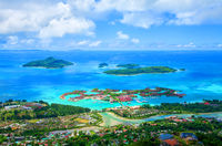 Island Mahé with Sainte Anne Marine National Park, Republic of Seychelles. Capital city Victoria wit