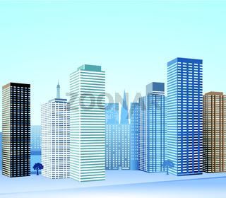 Stadt mit Wolkenkratzer.eps