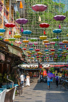 Beautiful vertical picture of Chinese lights and decoration in town