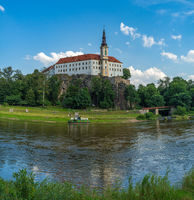 Decin. Czech Republic. View on the Tetschen Castle and Elbe river (Labe).