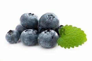 Fresh blueberries and lemon balm isolated against white
