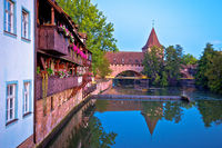 Nurnberg. Pegnitz river weaterfront in Nuremberg view