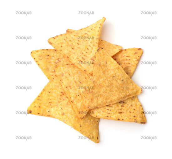 Top view of mexican corn nachos chips