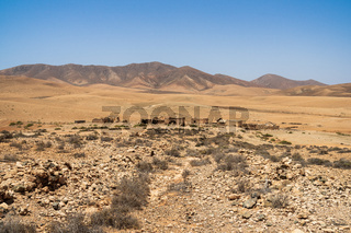 A desert landscape somewhere in the central part of the Fuerteventura island. Canary Islands. Spain.