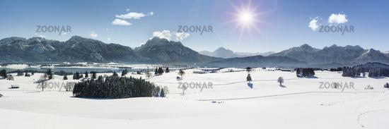panoramic landscape in Bavaria at winter