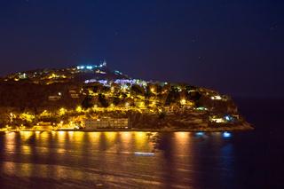 Cap Ferrat peninsula night view from Villefranche sur Mer