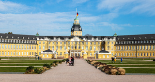 Front View of Main Entrance of Castle Karlsruhe with Square. In District Karlsruhe, Baden-Württemberg, Germany