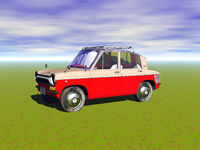 red trabbi small car on the meadow