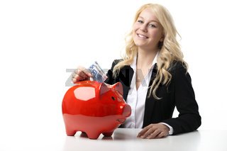 Women with piggy bank