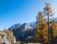 Autumn Dolomites rocky mountain view from Fedaia Pass, Italy