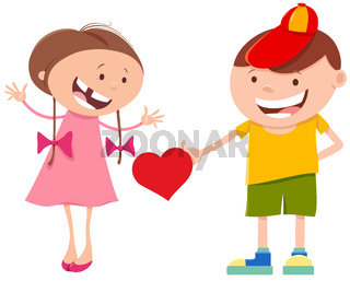 valentine card with cute cartoon girl and boy