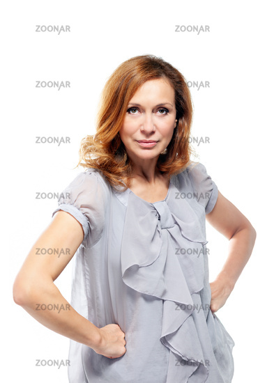 Portrait of beautiful adult woman on white background.