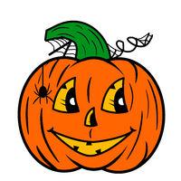 Illustration. A happy Halloween pumpkin