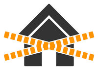Raster Flat Closed Home Stripes Icon