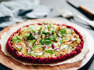 beetroot pizza crust with fresh mangold leaves