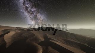 Amazing milky way over the dunes Erg Chebbi in the Sahara desert