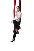 Business woman sitting on cloth isolated shot