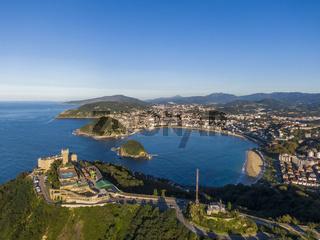 Aerial view of the Concha Bay in San Sebastian coastal city, Spain