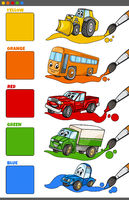 basic colors set with cartoon vehicle characters