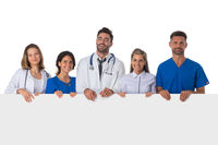 Medical doctors with banner