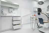 Interior of dental surgery room with special equipment