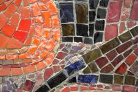 Wall from bright tile mosaic