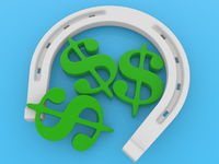 Concept of horseshoe with three dollar signs