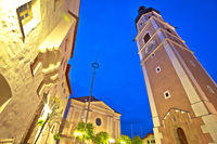 Town of Kastelruth or Castelrotto church and square evening view,