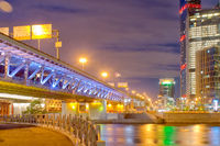Moscow business district, bridge over the river. The Russian Federation.