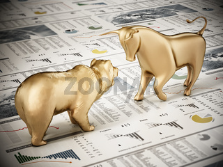 Golden bull and bear standing on finance newspaper page. 3D illustration