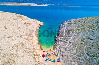 Vrsi. Zadar archipelago idyllic cove beach in stone desert scenery near Zecevo island